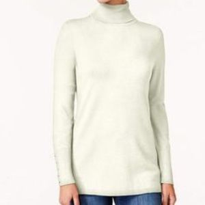 JM Collection Sweater Rivet Turtleneck Eggshell